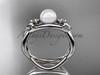 Platinum Fleur de Lis pearl engagement ring VP10024