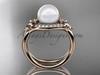 14kt rose  gold diamond Fleur de Lis pearl engagement ring VP10026