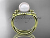 14kt yellow gold diamond Fleur de Lis pearl engagement ring VP10026