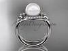 Platinum diamond Fleur de Lis pearl engagement ring VP10026
