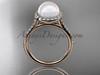 Unique 14kt rose gold diamond pearl engagement ring VP10030