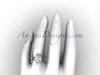 14kt white gold diamond Fleur de Lis, halo engagement ring VD20889
