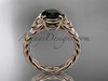 14kt rose gold celtic rope engagement ring with a  Black Diamond center stone RPCT9108