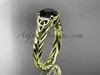 14kt yellow gold celtic rope engagement ring with a  Black Diamond center stone RPCT9108