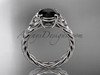 platinum celtic rope engagement ring with a  Black Diamond center stone RPCT9108