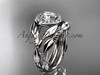 """Platinum diamond leaf and vine engagement set with a """"Forever One"""" Moissanite center stone ADLR328S"""