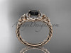 14kt rose gold halo rope celtic triquetra engagement ring with a Black Diamond center stone RPCT9131