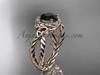 14k rose gold rope black diamond engagement ring RPCT9127