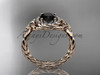 14kt rose gold rope halo celtic triquetra engagement ring with a Black Diamond center stone RPCT9127