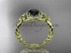 14kt yellow gold rope halo celtic triquetra engagement ring with a Black Diamond center stone RPCT9127