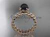 14kt rose gold diamond vine round tahitian black cultured pearl engagement set ABP34S