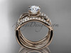 "14kt rose gold flower double wedding band with a ""Forever One"" Moissanite center stone engagement ring  ADLR70S"