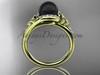 Irish Black Cultured Pearl Engagement Rings Yellow Gold Diamond Celtic Trinity Knot Wedding Ring CTBP7317