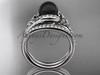 Black Cultured Pearl Celtic Wedding Set Platinum Diamond Irish Trinity Knot Engagement Ring CTBP7317S