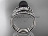 Black Cultured Pearl Celtic Double Band Engagement Ring Platinum Diamond Irish Trinity Knot Wedding Ring CTBP7317S