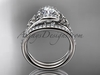 Diamond celtic trinity knot wedding Set, platinum irish engagement ring CT7317S