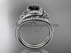 Black Diamond celtic trinity knot wedding Set, 14kt white gold irish diamond engagement ring CT7317S