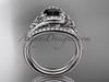 Black Diamond celtic trinity knot wedding Set, Platinum irish diamond engagement ring CT7317S
