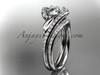 14k white gold diamond leaf and vine wedding ring, engagement set ADLR317S