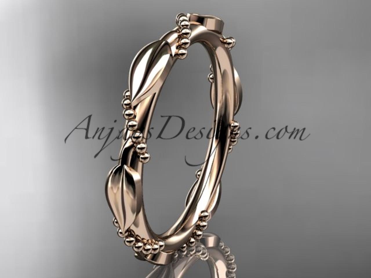 14k rose gold ring design for female without stone engagement ring wedding band adlr178b - Wedding Ring Design