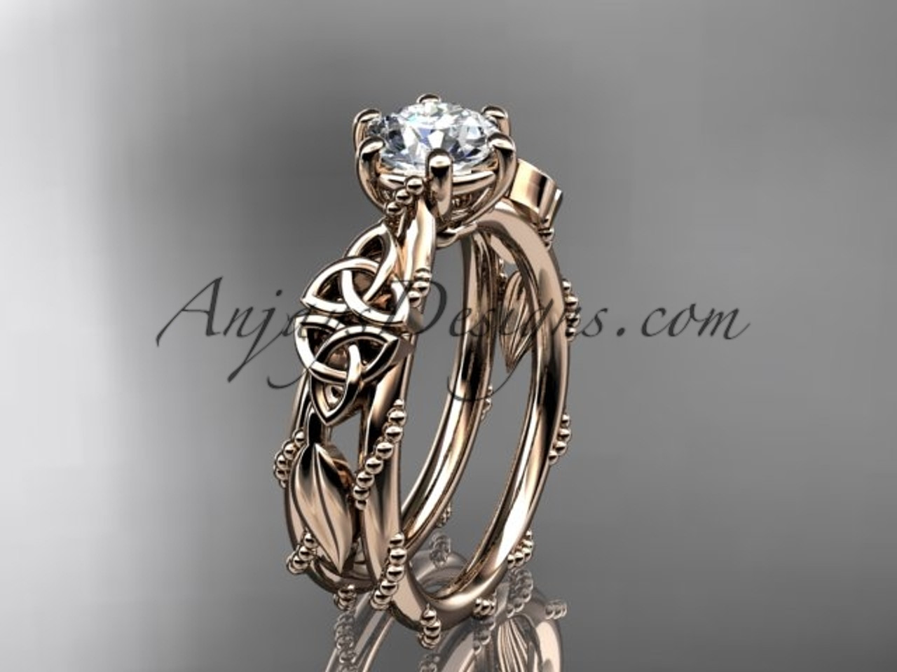 rose gold celtic trinity knot engagement ring wedding ring CT766