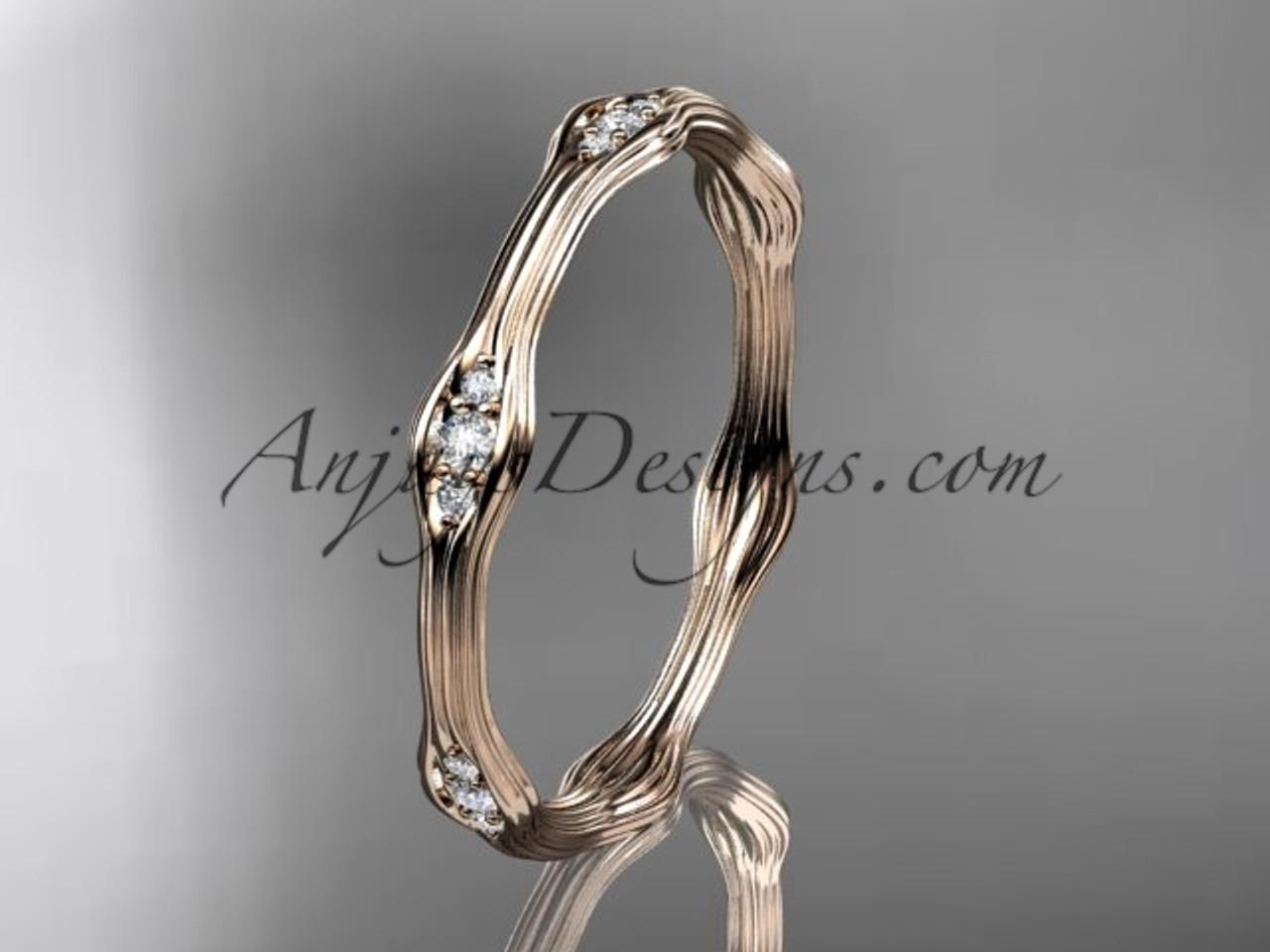 14k rose gold diamond vine wedding band engagement ring adlr21ab - Rose Gold Diamond Wedding Ring