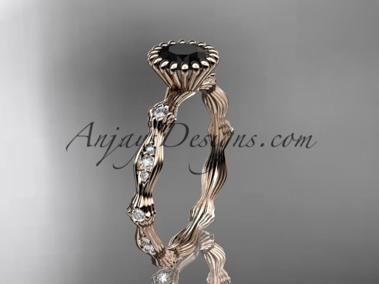 14kt Rose Gold Diamond Leaf Wedding Ring Engagement With Black Center Stone ADLR21