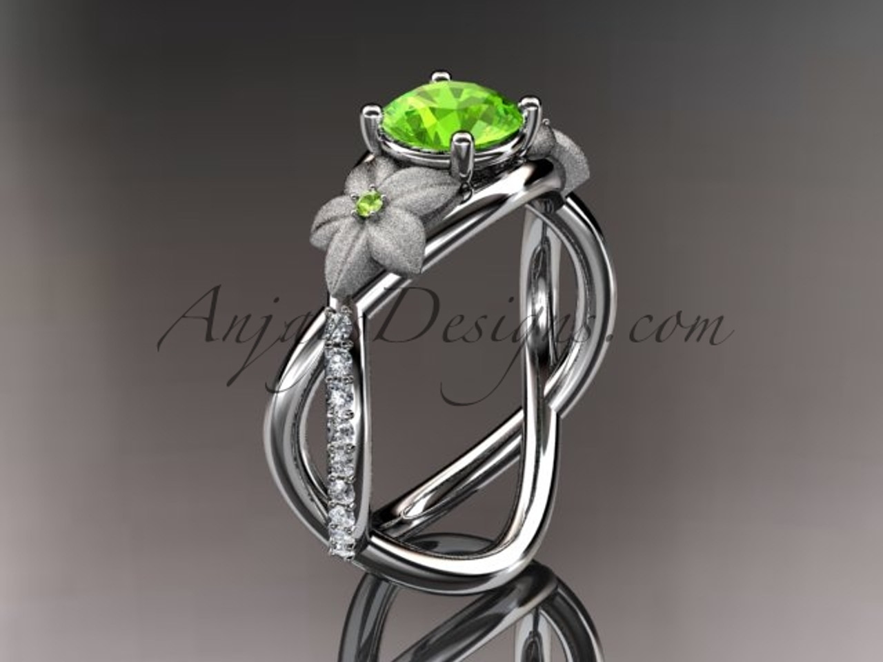 14kt white gold diamond leaf and vine birthstone ring adlr90 peridot augusts birthstone nature inspired jewelry - Nature Wedding Rings