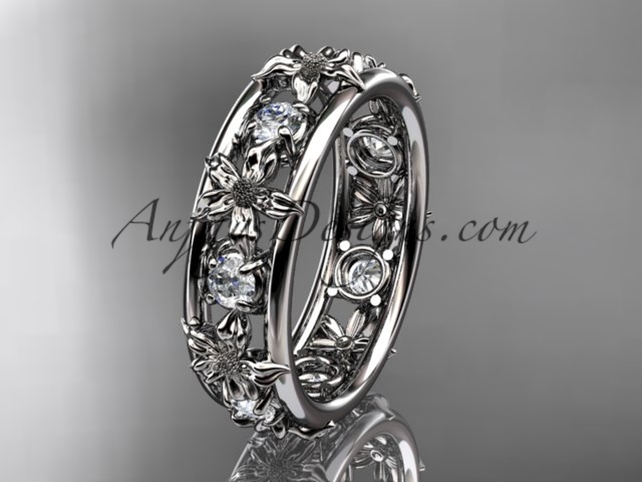 platinum diamond leaf wedding ring engagement ring wedding band adlr160b nature inspired jewelry - Leaf Wedding Ring