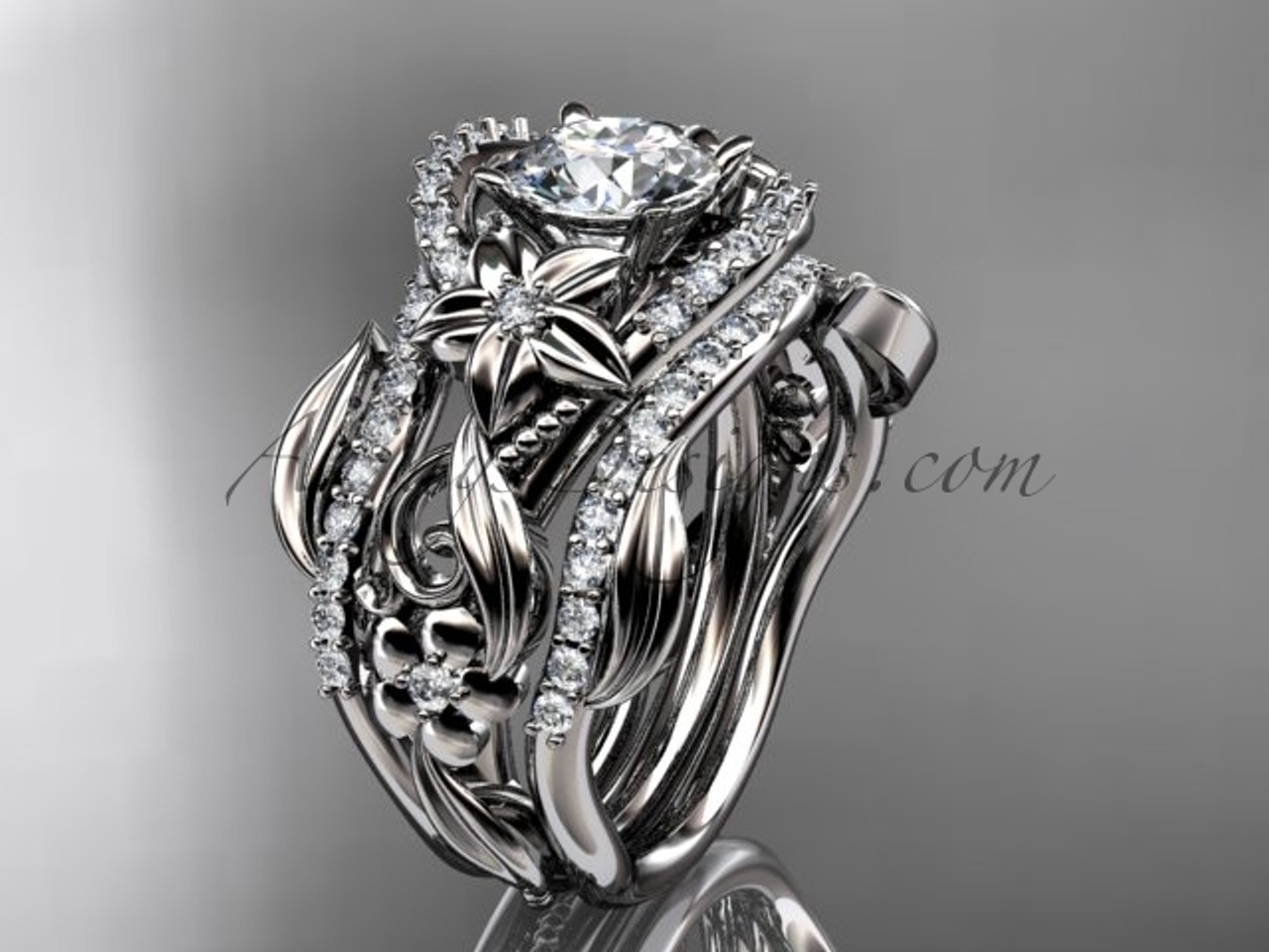 14kt White Gold Diamond Leaf And Vine Engagement Ring With