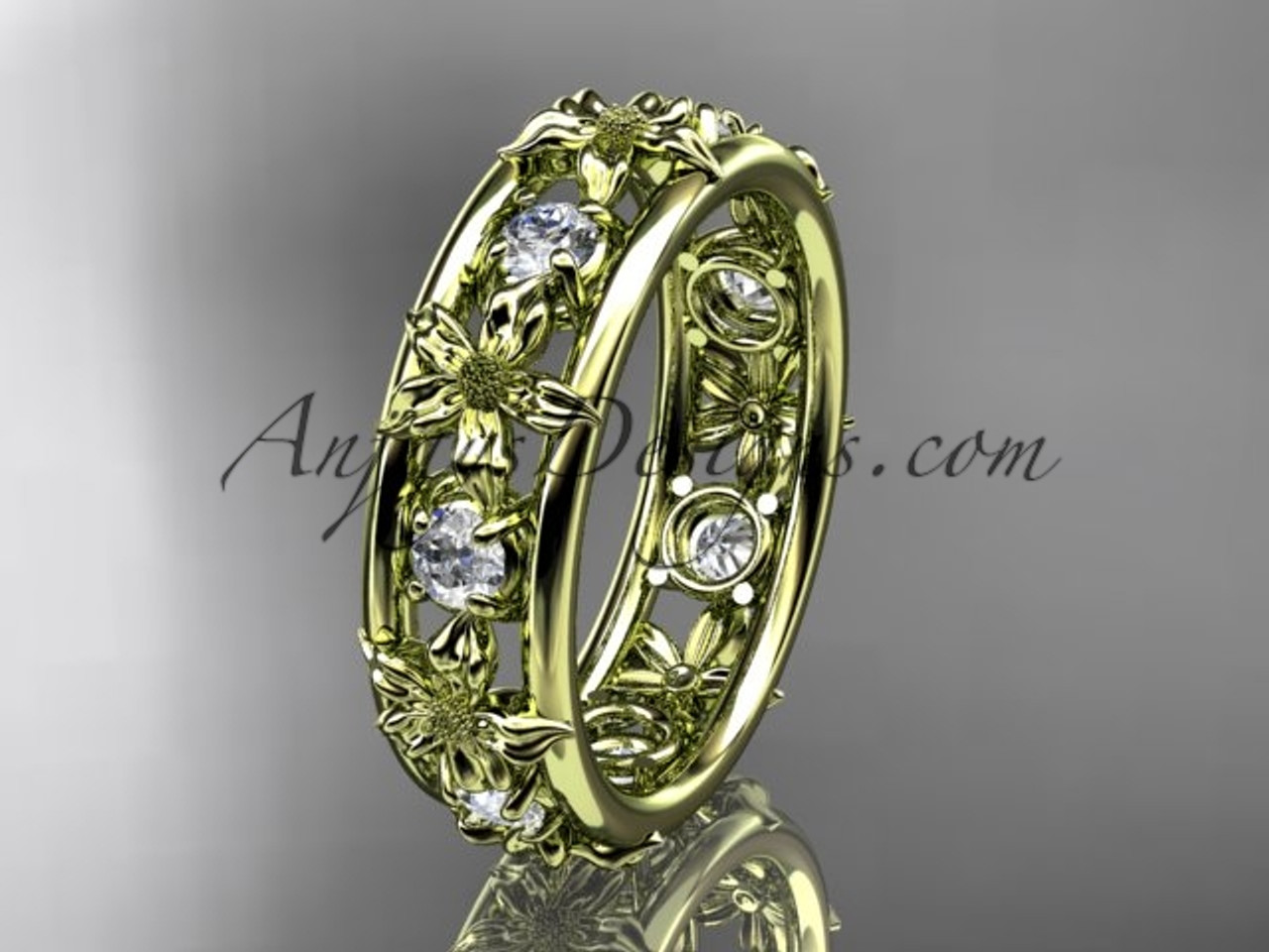 14kt yellow gold diamond leaf wedding ring engagement ring wedding band adlr160b nature inspired - Nature Inspired Wedding Rings