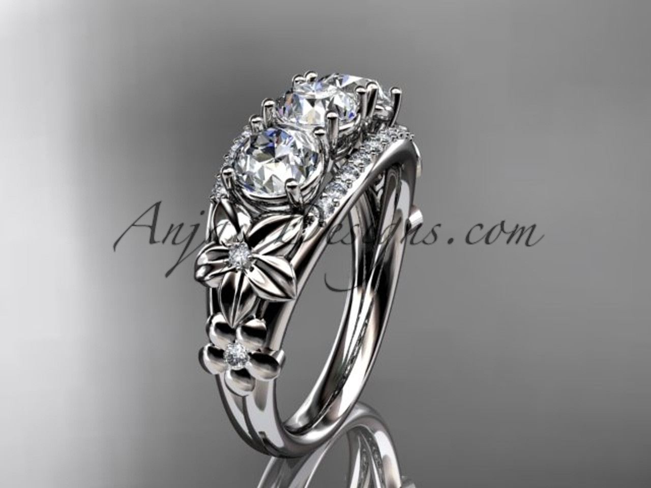 14kt white gold diamond flower 3 stone forever one moissanite wedding ring adlr203 - Moissanite Wedding Rings