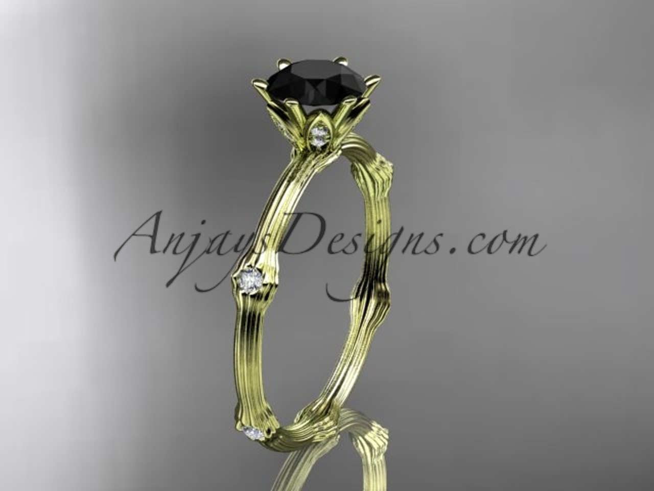 Engagement Ring Yellow Gold Black Diamond Ring ADLR38