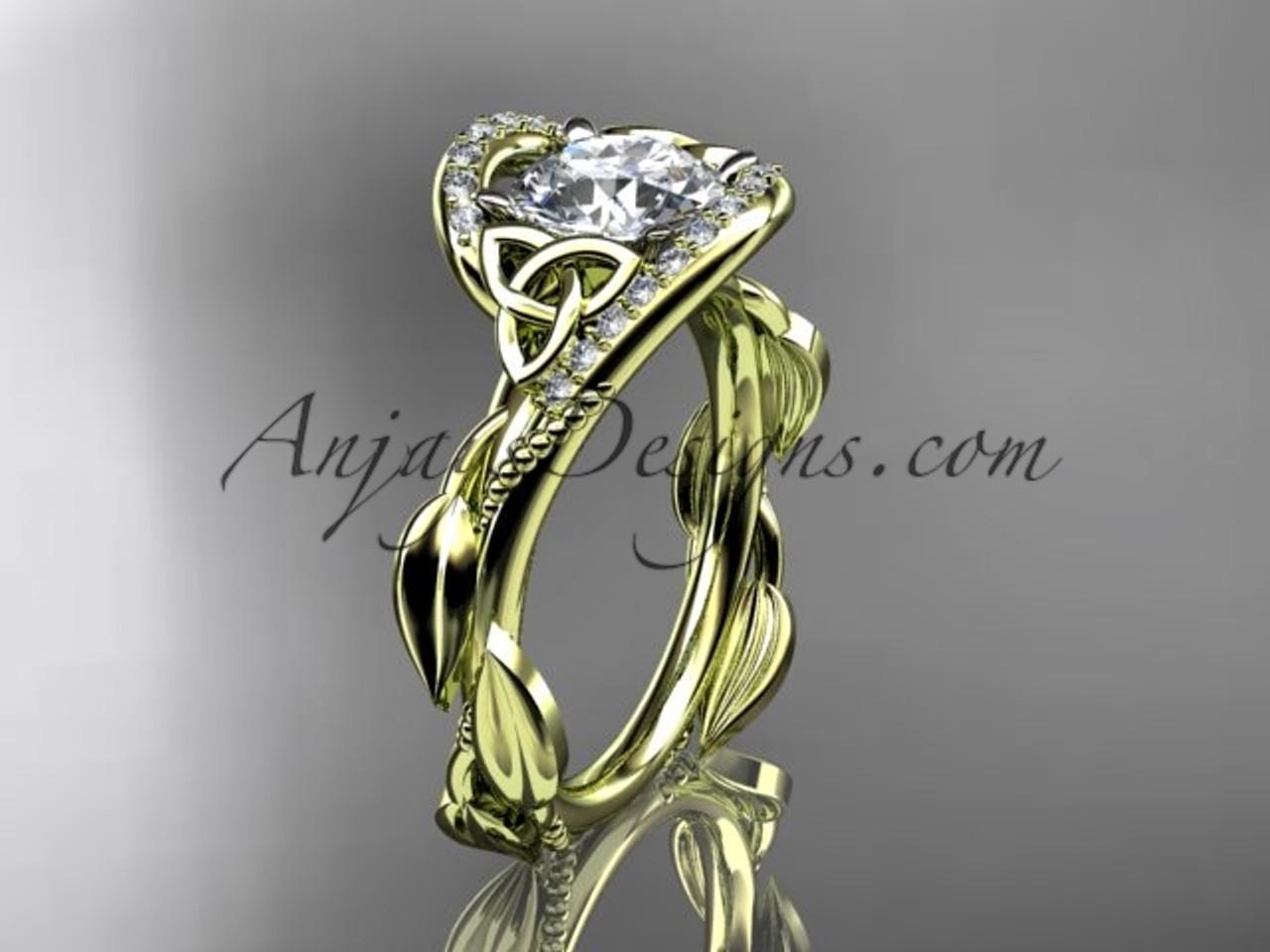 14kt yellow gold celtic modern engagement ring ct764 - Modern Wedding Rings