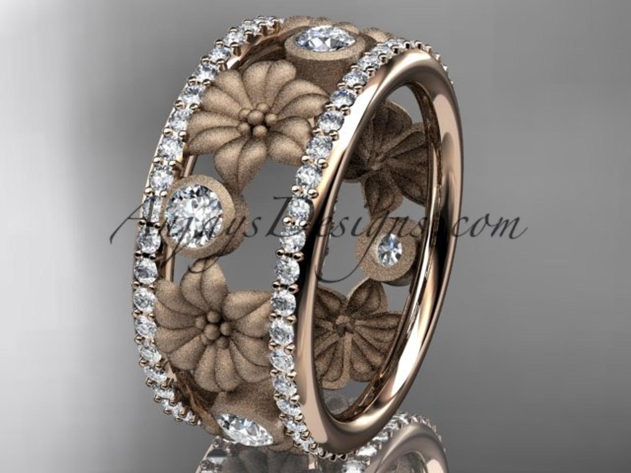 14k rose gold diamond flower wedding ring engagement ring