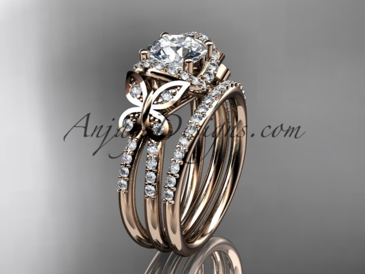 14kt rose gold diamond butterfly wedding ring engagement set adlr141s - Butterfly Wedding Ring