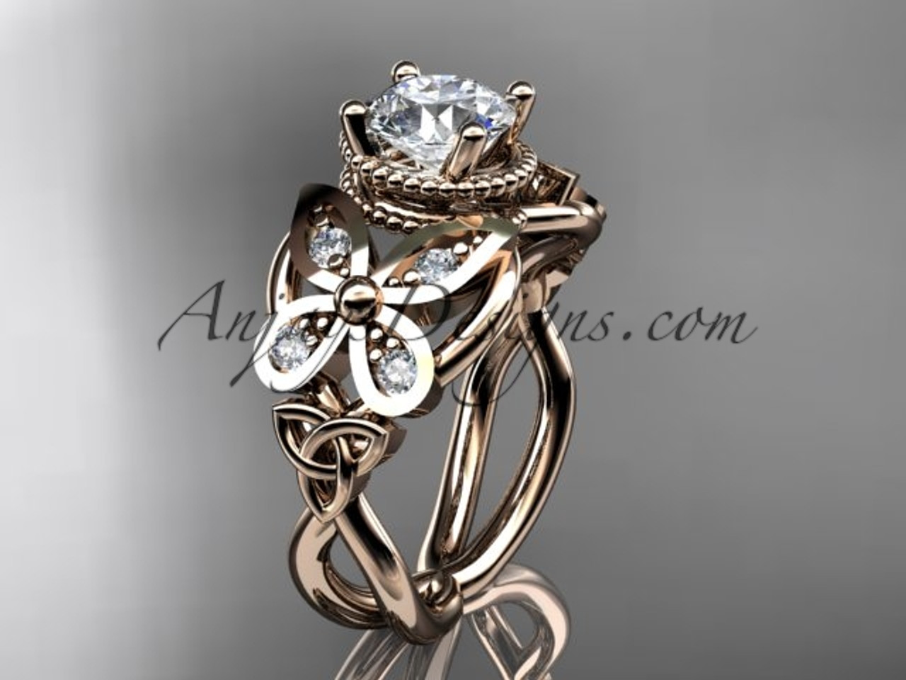 14kt rose gold diamond celtic trinity knot wedding ringbutterfly engagement ring with a - Rose Gold Diamond Wedding Ring