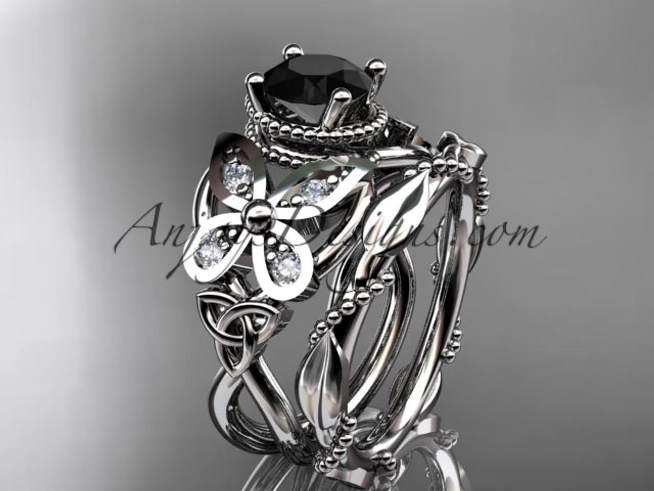 platinum diamond celtic trinity knot wedding ring butterfly