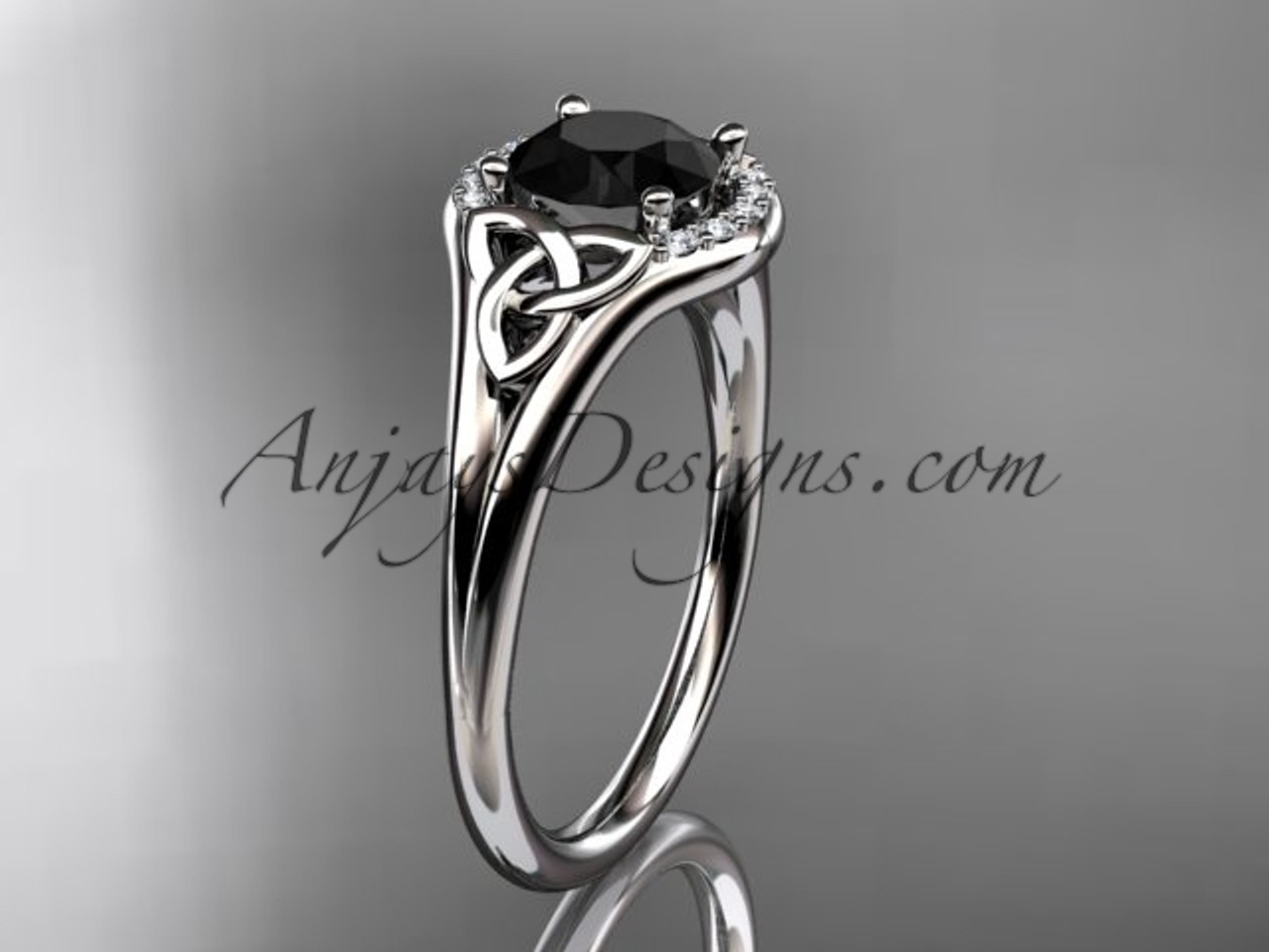 platinum celtic trinity knot engagement ring wedding ring with a black diamond center stone ct791 - Celtic Knot Wedding Rings