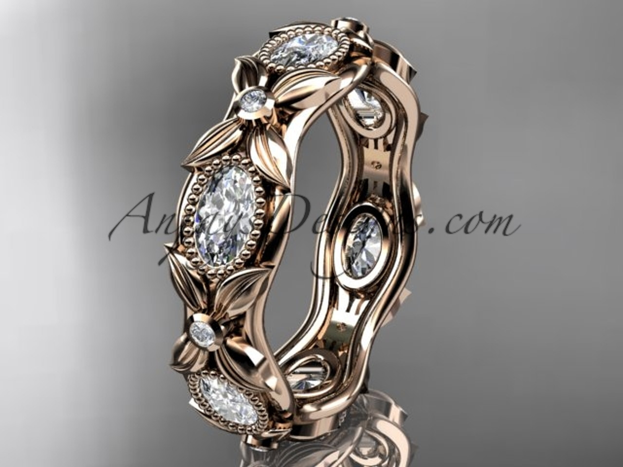 14kt rose gold diamond leaf and vine wedding bandengagement ring adlr152b nature inspired jewelry - Rose Gold Diamond Wedding Ring