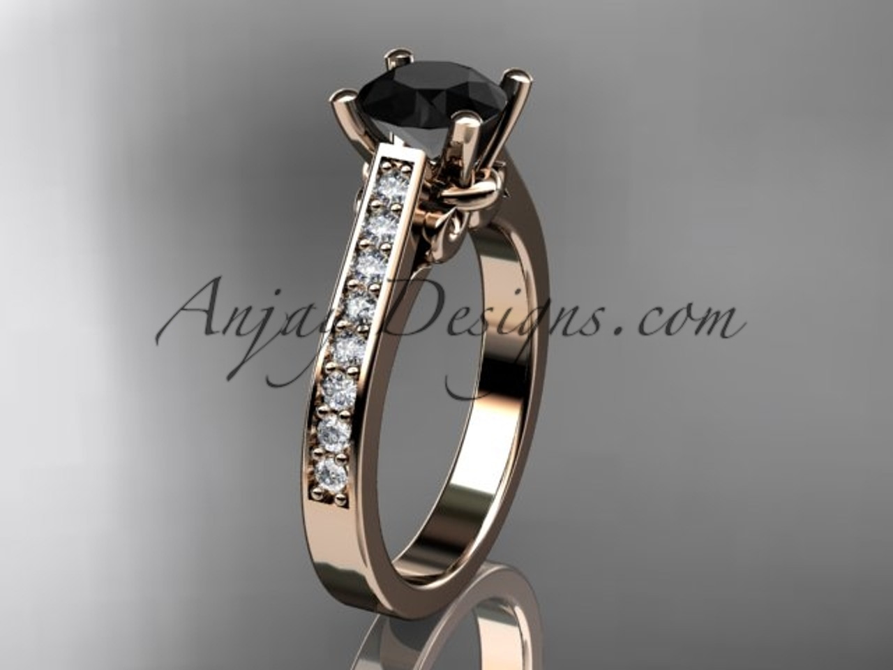 14kt rose gold diamond unique engagement ring, wedding ring with a Black  Diamond center stone