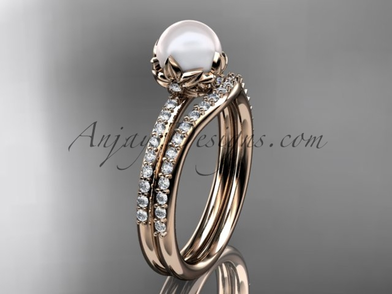 14k rose gold diamond pearl unique engagement ring set ap92s - Pearl Wedding Ring Sets
