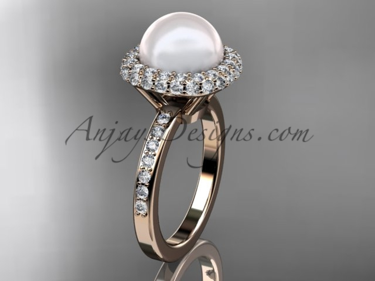 unique 14kt rose gold diamond pearl engagement ring vp10015 - Pearl Wedding Ring