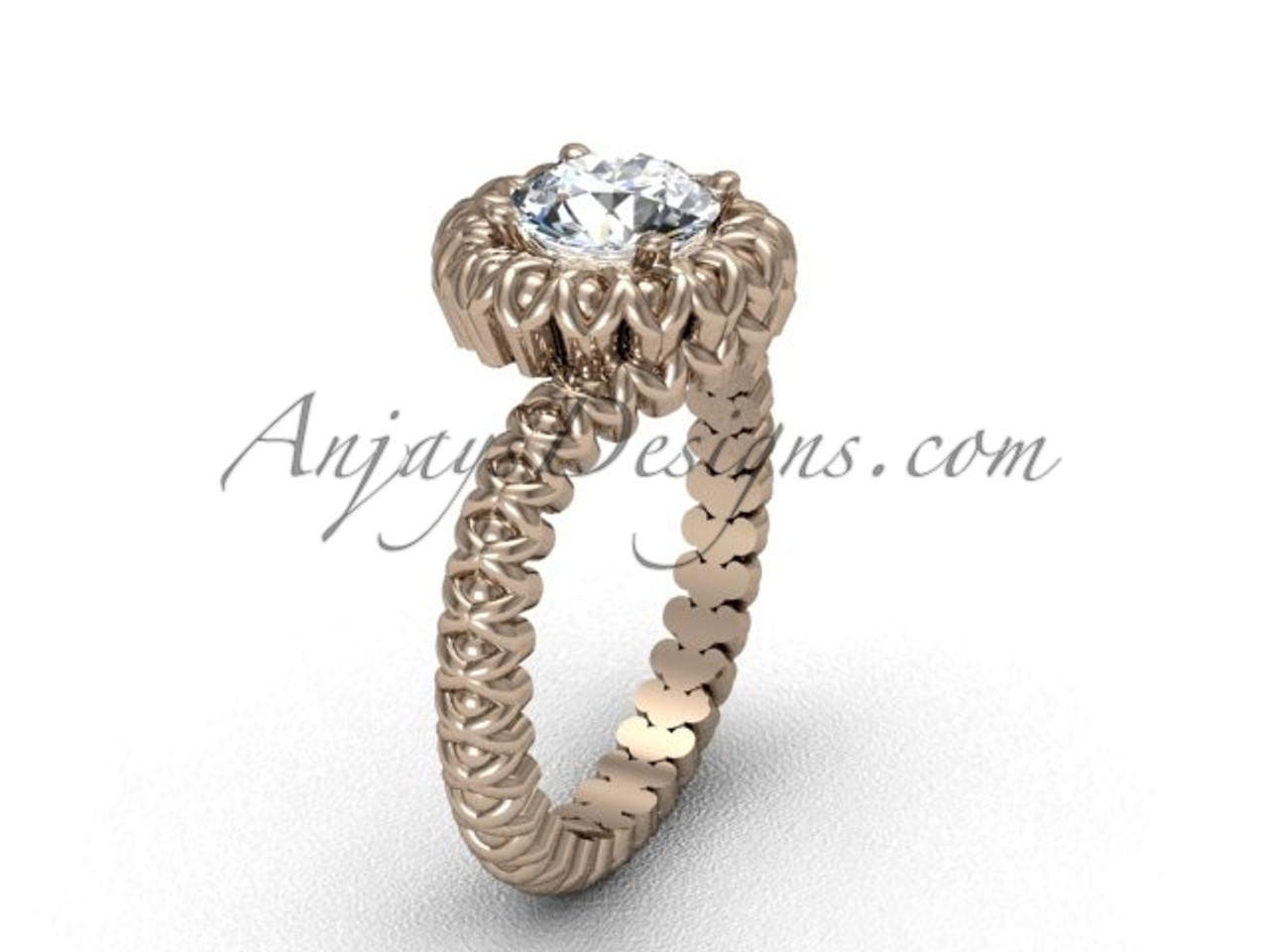Rose Gold No Diamond Engagement Ring VD1006