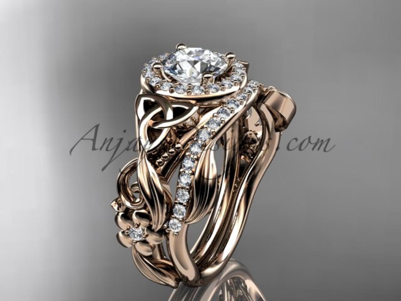 Celtic Wedding Ring Sets Rose Gold Moissanite CT7300S