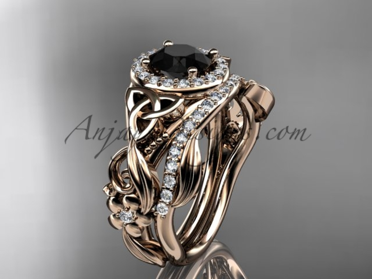 black diamond celtic wedding ring sets rose gold ring ct7300s - Celtic Wedding Ring Sets
