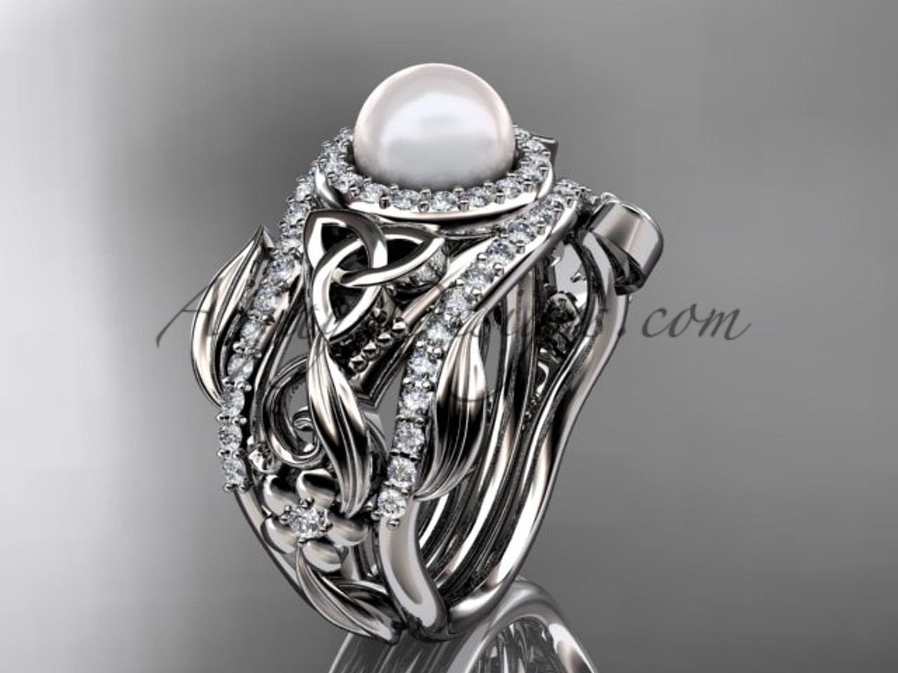 triquetra celtic pearl double band wedding ring white gold set ctbp7300s - Double Band Wedding Ring