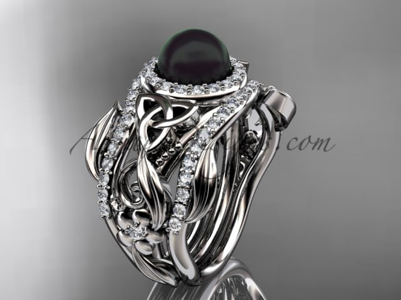 Black Pearl Double Band Wedding Ring Triquetra White Gold Bridal Set Flower Engagement