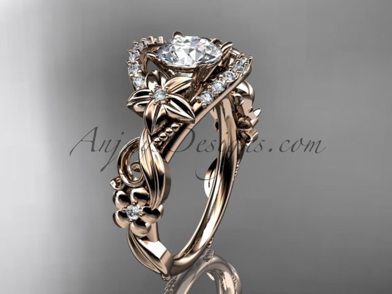 14k rose gold flower diamond unique enement ring forever one - Flower Wedding Ring