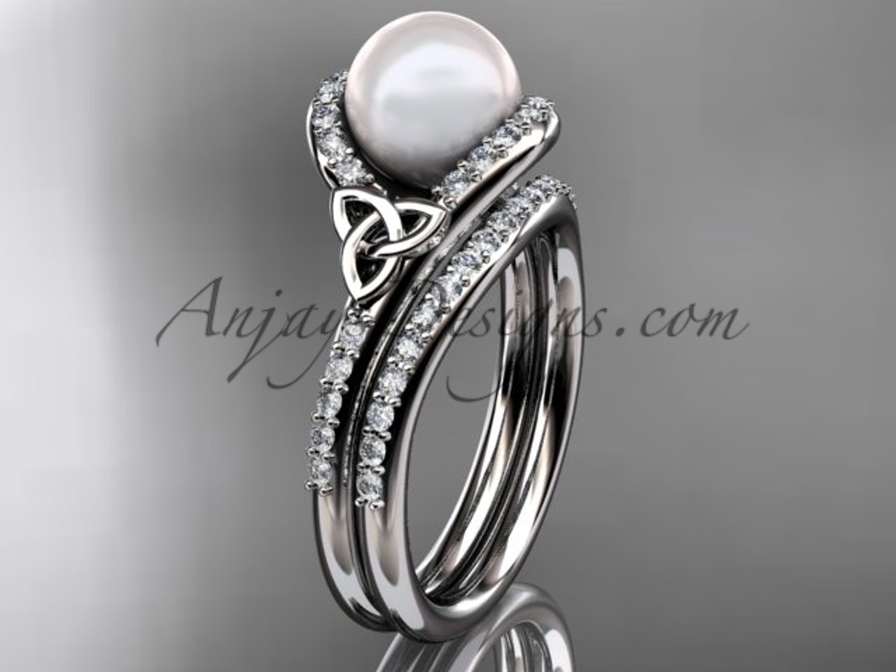 celtic engagement rings platinum pearl wedding set ctp7317s - Pearl Wedding Ring Sets